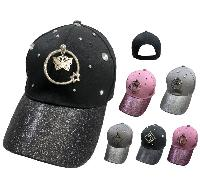 Glitter Baseball Hat with Gems [Ring Decoration on Front]